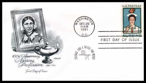 view larger image for First Day Covers First Day Covers: SG Number 1189 / Scott Number  (1961) - Nursing 4c single on an Artmaster unaddressed first day cover cancelled with a WASHINGTON - DC