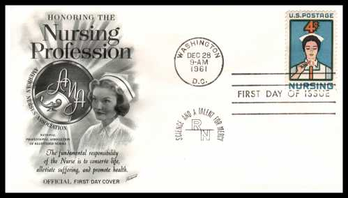 view larger image for First Day Covers First Day Covers: SG Number 1189 / Scott Number  (1961) - Nursing 4c single on an Fleetwood unaddressed first day cover cancelled with a WASHINGTON - DC