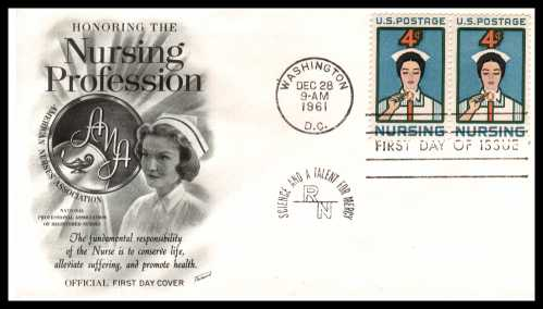view larger image for First Day Covers First Day Covers: SG Number 1189 / Scott Number  (1961) - Nursing 4c single as a pair on an Fleetwood unaddressed first day cover cancelled with a WASHINGTON - DC