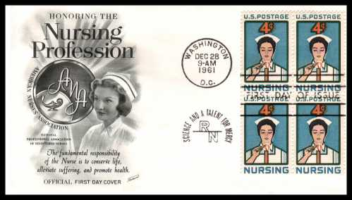 view larger image for First Day Covers First Day Covers: SG Number 1189 / Scott Number  (1961) - Nursing 4c single as a block of four on an Fleetwood unaddressed first day cover cancelled with a WASHINGTON - DC