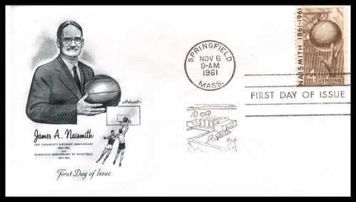 view larger image for First Day Covers First Day Covers: SG Number 1188 / Scott Number  (1961) - James A. Naismith - Basketball 4c single on an Artmaster unaddressed first day cover cancelled with a SPRINGFIELD - MA