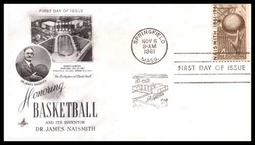 view larger image for  : SG Number 1188 / Scott Number 1189 (1961) - James A. Naismith - Basketball 4c single on an Artcraft unaddressed first day cover cancelled with a SPRINGFIELD - MA