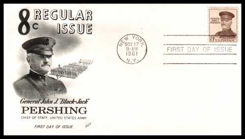 view larger image for First Day Covers First Day Covers: SG Number 1041 / Scott Number  (1961) - J. J. Pershing 8c single on an Fleetwood unaddressed first day cover cancelled with a NEW YORK - NY