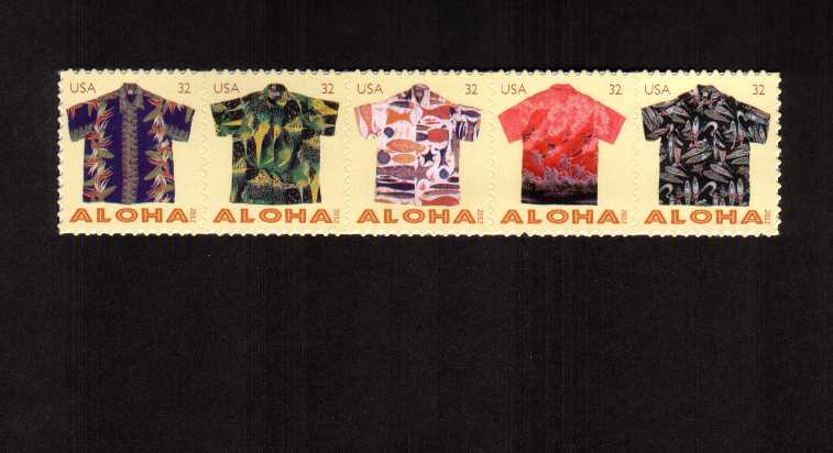 view larger image for  : SG Number 5193-5197 / Scott Number 4596a (2012) - Aloha Shirts strip of five ex sheet