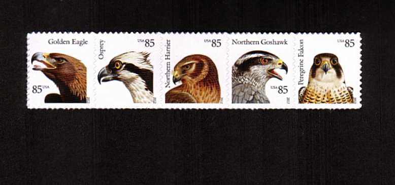 view larger image for  : SG Number 5216a / Scott Number 4612a (2012) - Birds of Prey strip of five