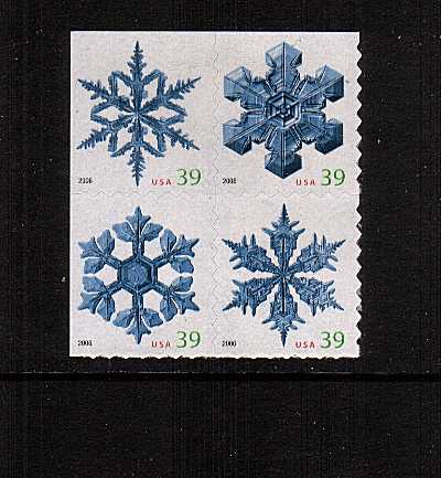 view larger image for Commemoratives 2006 - 2007 - Later Period Commemoratives: SG Number 4674-4677 / Scott Number 39c x4 - 5 October 2006 (2006) - Christmas - Snowflakes<br/>