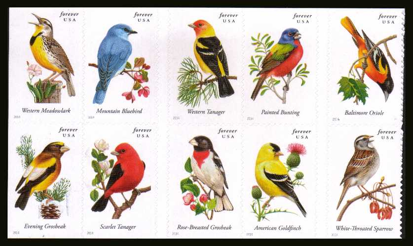 view larger image for  : SG Number 5496-5505 / Scott Number 4882-4891 (2014) - Songbirds<br/>