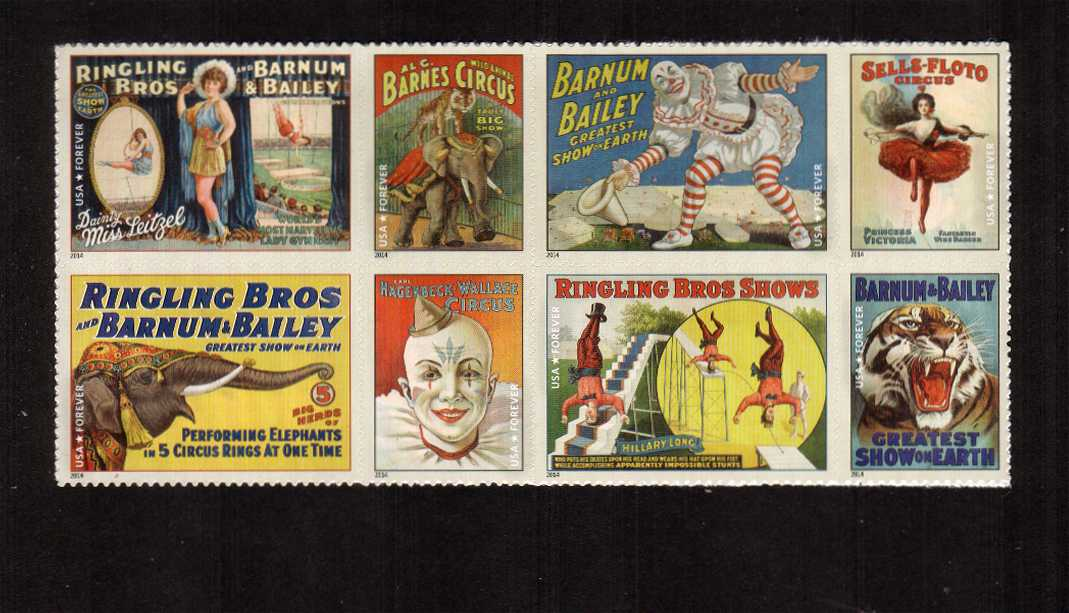 view larger image for  : SG Number 5513-5520 / Scott Number 4898-4905 (2014) - Vintage Circus Posters<br/>