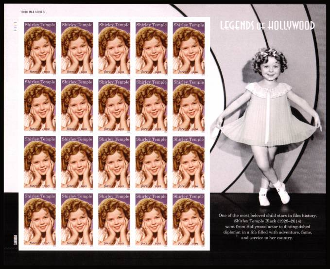 view larger image for New Issues New Issues: SG Number  / Scott Number 1st (49c x20) - 18 April  2016 (2016) - Legends of Hollywood - Shirley Temple<br/>