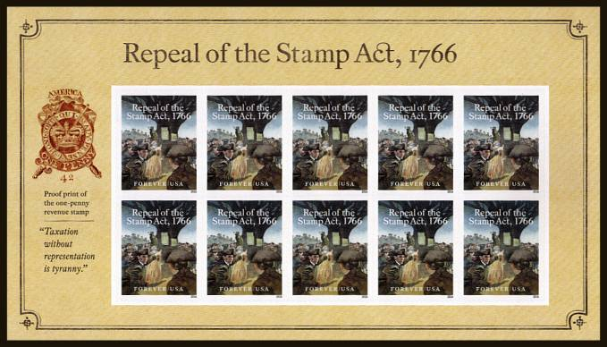 view larger image for Commemoratives 2015-2016 - Later Period Commemoratives: SG Number  / Scott Number 1st (47c x10) - 29 May 2016 (2016) - Repeal of the Stamp Act 1766<br/>