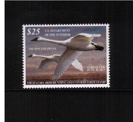 view larger image for Federal Ducks Federal Ducks: SG Number  / Scott Number $25 (2016) - Migratory Bird Hunting and Conservation Stamp Inscribed 'Void after June 30th, 2017''