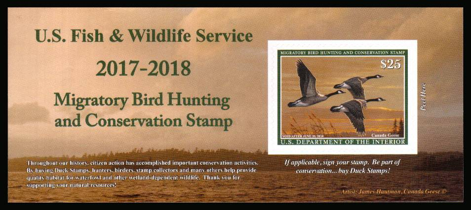view larger image for Federal Ducks Federal Ducks: SG Number  / Scott Number  (2017) - Migratory Bird Hunting and Conservation Stamp Inscribed 'Void after June 30th, 2018''